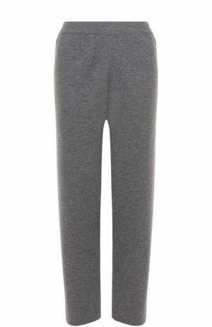 Шерстяные укороченные брюки прямого кроя Tak.Ori. Цвет: серый