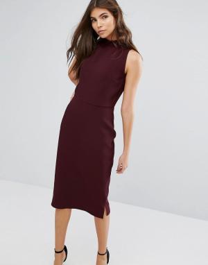 Alter Платье-футляр с оборкой на воротнике. Цвет: красный