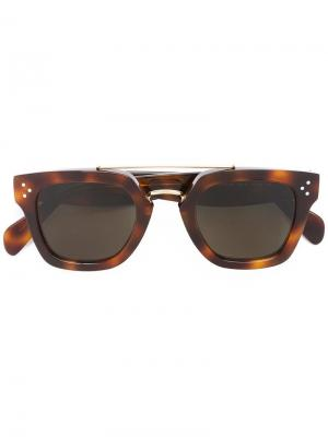 Солнцезащитные очки в квадратной оправе Céline Eyewear. Цвет: коричневый