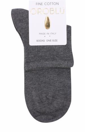 Хлопковые однотонные носки Oroblu. Цвет: серый