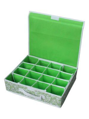 Коробка для хранения нижнего белья Рыжий кот. Цвет: зеленый