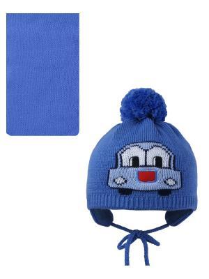 Шапка, шарф Pro-han. Цвет: синий