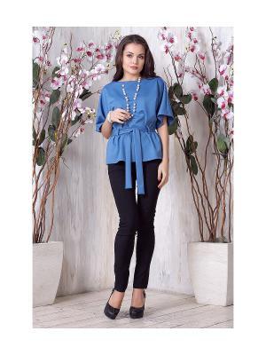 Блуза LIORA. Цвет: голубой