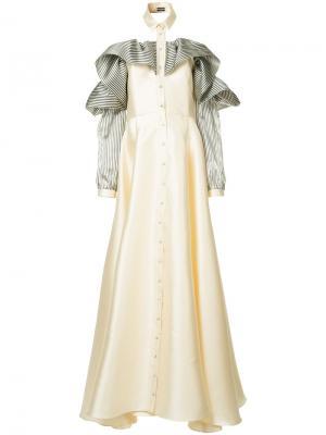 Платье с оборками на рукавах Alexis Mabille. Цвет: белый