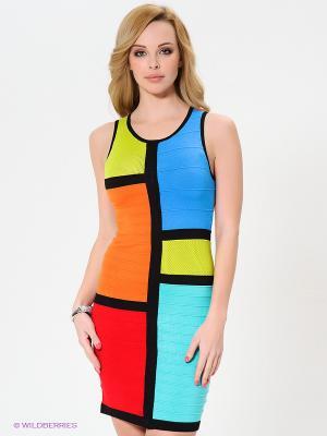 Платье Wow Couture. Цвет: голубой, красный, оранжевый, черный, бирюзовый