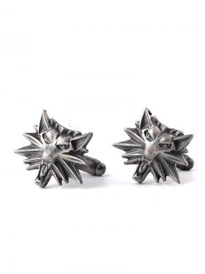 Запонки волки Churchill accessories. Цвет: серебристый