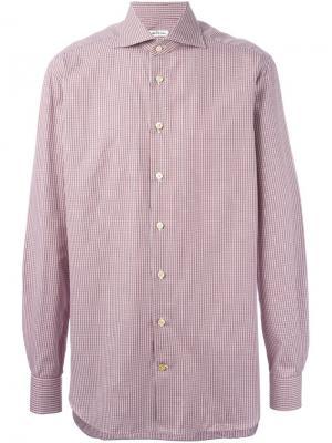 Рубашка в мелкую клетку Kiton. Цвет: красный