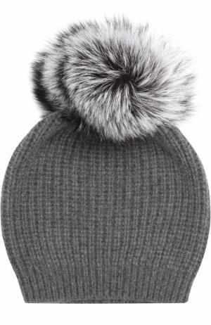 Кашемировая вязаная шапка с меховым помпоном William Sharp. Цвет: темно-серый