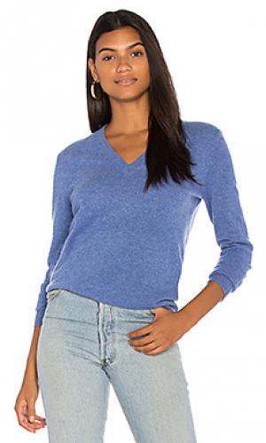 Базовый пуловер с v-образным вырезом White + Warren. Цвет: синий