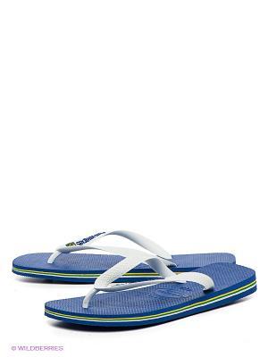 Шлепанцы Havaianas. Цвет: белый, синий