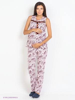 Пижама 2 в 1 (для беременных и для кормления) Nuova Vita. Цвет: бледно-розовый, бордовый, коричневый