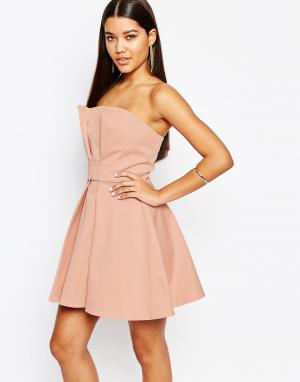 AQ Платье мини для выпускного с лифом-бандо AQ/AQ. Цвет: розовый