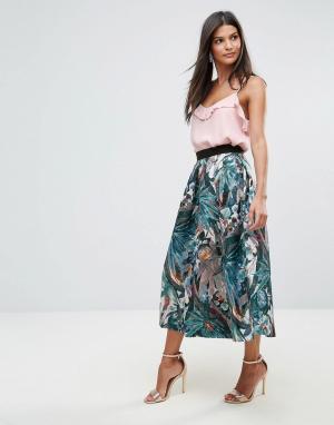 Closet London Плиссированная юбка металлик с разрезом. Цвет: мульти