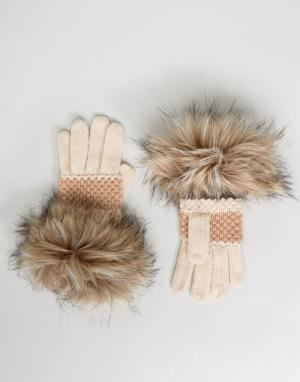 Alice Hannah Перчатки с искусственным мехом. Цвет: кремовый