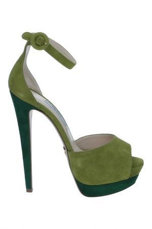 Босоножки Prada. Цвет: зеленый