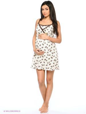 Ночная сорочка для беременных и кормления 40 недель. Цвет: белый