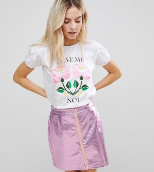 Chorus Petite Сатиновая футболка с цветочным принтом. Цвет: белый