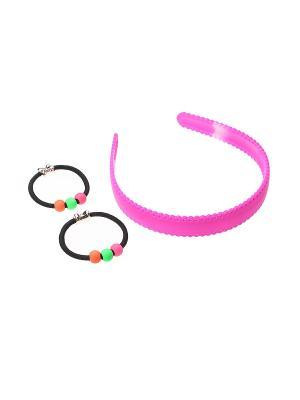 Комплект (Ободок - 1 шт., резинка 2 шт.) Olere. Цвет: розовый, черный, зеленый, оранжевый