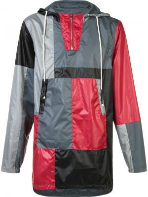 Пальто дизайна колор-блок с капюшоном Mostly Heard Rarely Seen. Цвет: красный