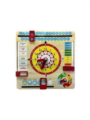 Игрушка развивающая Часы и календарь GENIO KIDS. Цвет: бежевый