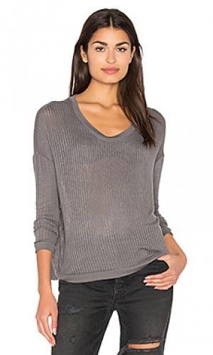 Прозрачный пуловер в рубчик Bella Luxx. Цвет: серый