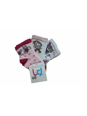 Носки 3 пары PERA MAYA. Цвет: белый, красный, розовый