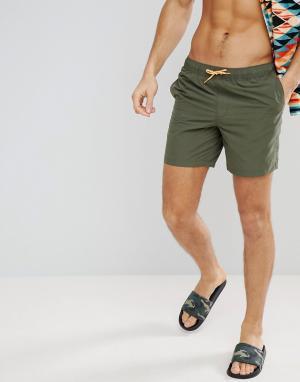 ASOS Шорты для плавания цвета хаки средней длины с неоновым оранжевым шнурк. Цвет: зеленый