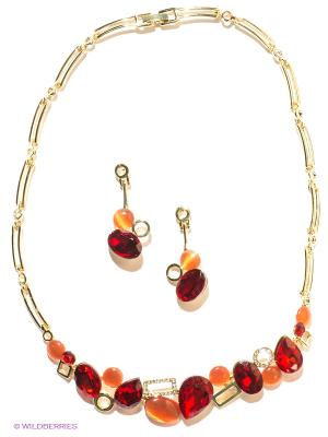 Комплект Lovely Jewelry. Цвет: золотистый, красный, оранжевый