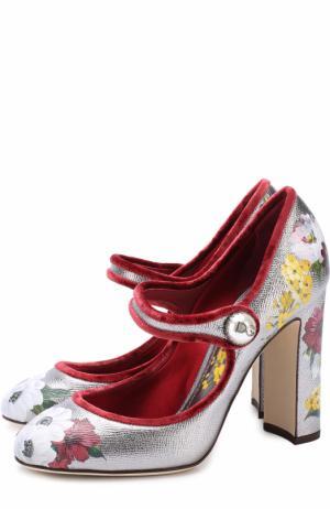Туфли Vally из металлизированной кожи с принтом Dolce & Gabbana. Цвет: серебряный
