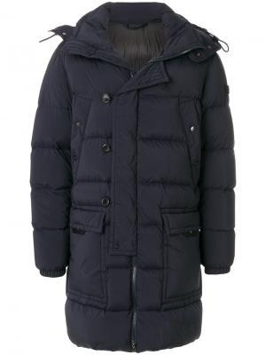 Удлиненное стеганое пальто Peuterey. Цвет: синий