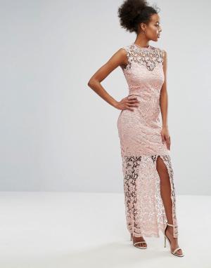 Paper Dolls Ажурное платье макси с разрезом спереди. Цвет: розовый