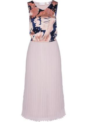 Длинное плиссированное платье (розовый матовый/темно-синий с принтом) bonprix. Цвет: розовый матовый/темно-синий с принтом