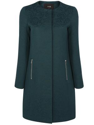 Пальто Oodji. Цвет: зеленый, темно-зеленый