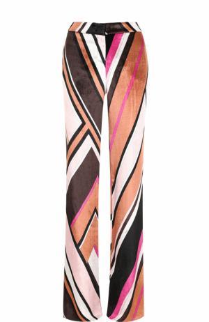 Бархатные расклешенные брюки с ярким принтом Emilio Pucci. Цвет: разноцветный