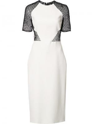 Платье-футляр с прозрачной спиной David Koma. Цвет: белый