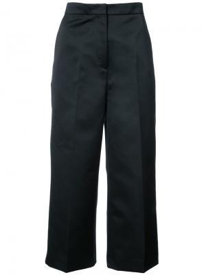 Атласные укороченные брюки Rochas. Цвет: чёрный