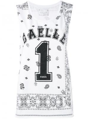 Топ с принтом-логотипом Gaelle Bonheur. Цвет: белый