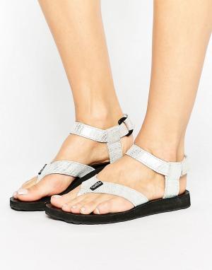 Teva Кожаные сандалии цвета металлик Original. Цвет: серебряный