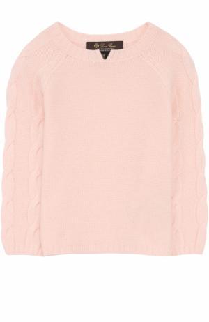 Кашемировый пуловер с фактурным узором Loro Piana. Цвет: розовый