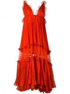 Платье макси Mousseline Maria Lucia Hohan. Цвет: жёлтый и оранжевый