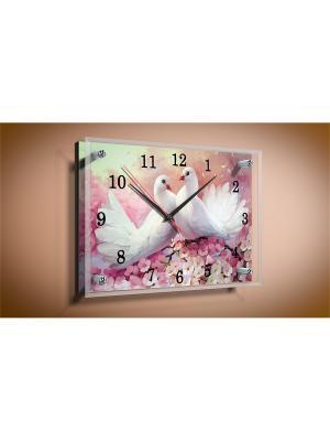 Настенные часы-картина Голубки PROFFI. Цвет: розовый, белый, красный, светло-желтый, светло-зеленый, фуксия, черный
