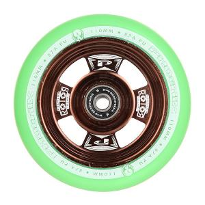 Колесо для самоката  Rotor Core Wheel 110mm With Abec 9 Bearings Bronze/Green Phoenix. Цвет: коричневый,зеленый