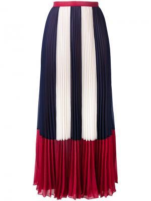 Плиссированная юбка с полосатыми панелями Red Valentino. Цвет: синий