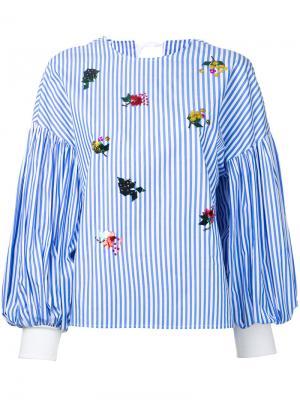 Блузка с отделкой пайетками Muveil. Цвет: синий