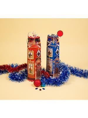 Набор для шитья и вышивания чехол на бутылку Домик синий Матренин Посад. Цвет: синий