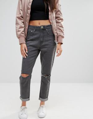 Boohoo Рваные джинсы бойфренда с завышенной талией. Цвет: серый