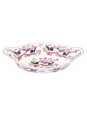 Блюдо - лодочка Птички Elan Gallery. Цвет: белый, синий, розовый