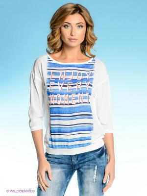 Блузка Vilatte. Цвет: белый, синий