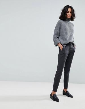 Selected Узкие брюки Femme. Цвет: серый