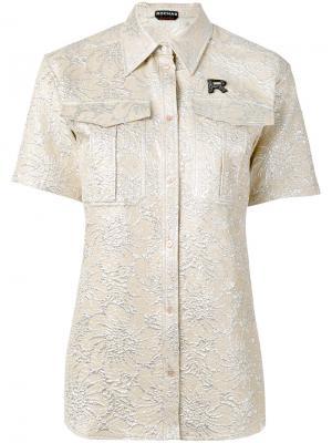 Рубашка с цветочным узором и буквой Rochas. Цвет: телесный
